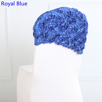 Royal blue colour rose chair sash embroider rosette sash wedding decoration sash lycra chair sash spandex chair band stretch