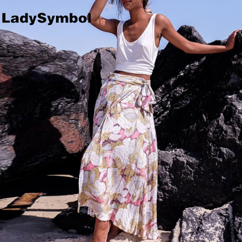 LadySymbol Floral Print 2017 Summer Maxi Skirts Women High Waist Side Split Elegant Loose Casual Sexy Beach Cool Long Skirts