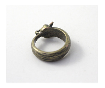 Wholesale Trendy Unique Animal Fox Rings Antique Bronze Color Plated Warcraft Men Fox Rings Women Gift Cs Go