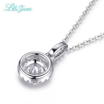 L&zuan S925 Silver Zircon Womens pendants Trendy Round 1.8ct White gemstone Fine Jewelry for princess wedding Necklace gift