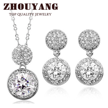 ZHOUYANG ZYS171 Studded With Cubic Zirconia Silver Color Jewelry Necklace Earring Set Rhinestone Made with Austrian Crystals