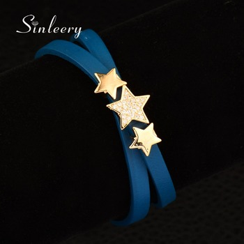 SINLEERY Vintage Handmade 2 Layer Leather Wrapped Bracelet With Gold Color Micro Crystal Star Bracelet & Bangle 4 Color SL028