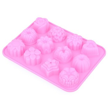 2016 New Silicone Muffin Tray Candy Cupcake Jelly Mold Pan 12 Flowers Bakeware Chocolate Mould Baking Tools