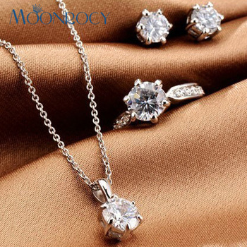 MOONROCY Rose Gold Color Silver Color CZ Crystal Necklace Earring Ring Wedding Jewelry Sets for Women Gift