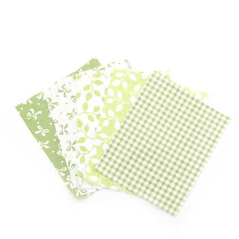 NEW 5 Colors Green Floral Patchwork Cotton Fabric Strips tissu Sewing Patchwork Fabric For Bag Hat Doll Baby Cloth ZH1-6